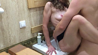 Fucked deeply on a bathroom sink with a huge cock