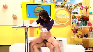 Japanese TV anchorwomen getting fucked and facialized live