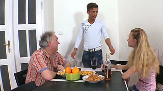 Delightsome young playgirl rides old boner of a avid dude