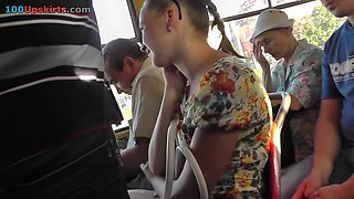 Dirty voyeur upskirts demonstrate blonde cutie