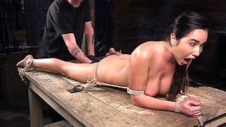 Submissive sweetheart with big tits gets bandaged and fucked