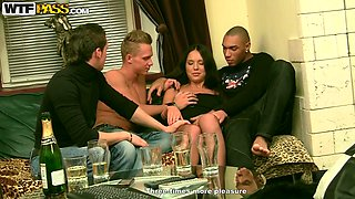 Three horny guys drill one drunk chick Natalie