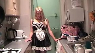 French Maid dress play for British pornstar Kaz B