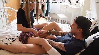 Dad shows big cock to virgin teen daughter