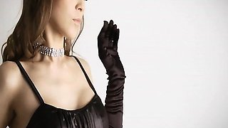 Yurias black satin dress turns her on so much that she has