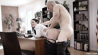 Super busty employee Angela White is fucked by bald headed boss