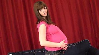 Pregnant shaved teen sucks and fucks big cock