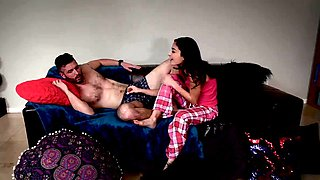 Blond young german blowjob and full Slumber Party With Stepd
