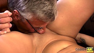 Emotional fresh brunette Erica is banged quite hard by gaffer in glasses