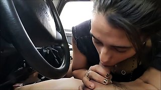 Insatiable amateur teen delivers a deep blowjob in the car