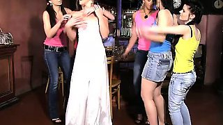 Bride Sandra fucks a stripper and a waiter at her CFNM