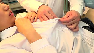 Shy schoolgirl gets her pussy toyed and fucked by her doctor