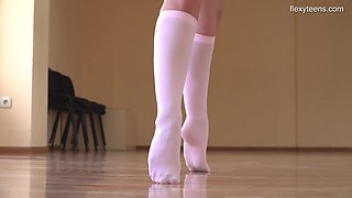 Slender ballerina Kim Nadara shows yummy smooth pussy in flexible positions