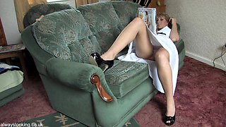 Lovely blonde shows her goods upskirt down blouse style