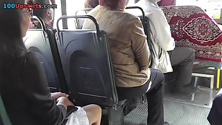 Very erotic upskirts on the Russian bus