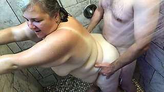 Showering with my Mature BBW MILF with Saggy Tits, Belly TnD