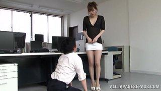 Sexy Office Girl In Miniskirt Makes Her Boss crazy