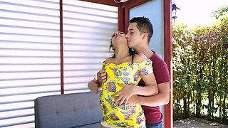 Bootylicious Latina chokes on teen guy's big cock in POV