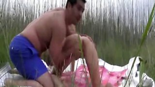 Blonde wife gangbanged on the beach