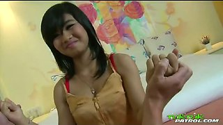 Beautiful young Thai doll pussy stuffed with white dick