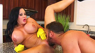 Large boobs MILF Sybil Stallone gets fucked hard in the kitchen