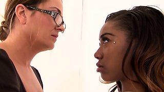 Stepmom lesbian milf dominates ebony teen
