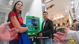HUNT4K. Raven-haired lassie enjoys pussy-drilling for big cash