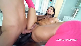 Petite brunette, Sheena Ryder is having an interracial threesome and having her first DP experience