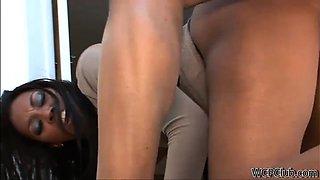 Cute ebony housewife loves an anal treat