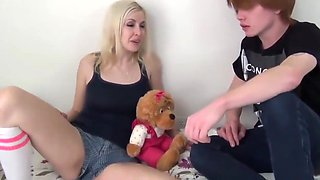 redhead brother with small cock cums three times thanks to his blonde sister bitch