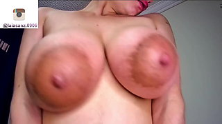 Busty Latina Laia squeezes and licks milk from big nipples