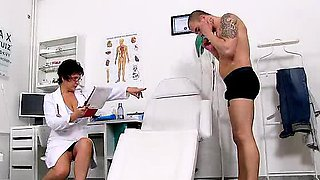 Big tits cougar Greta is naughty nurse at sperm bank clinic