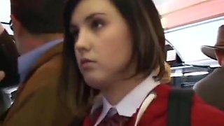White school college girl in uniform groped in bus public