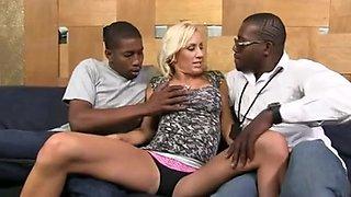Blonde swallows cum of 4 black guys after a gangbang