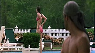 Jessica Biel sexy as she emerges from the pool and walks