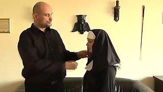 Horny nun puts the faith back into her sexy slave