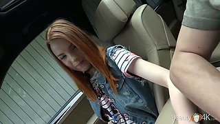 Lusty park gal with chestnut hair Brianna gives a good blowjob in the car