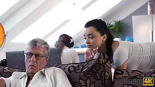 DADDY4K. The forbidden sex of an old mans girlfriend and his sons ends with a facial