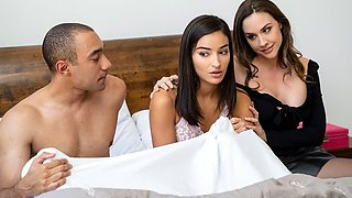 Mother and her daughter is beautiful a lot of group sex in bed...