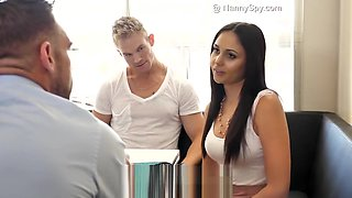 Hung Dad fucks Ariana Marie after caught with son