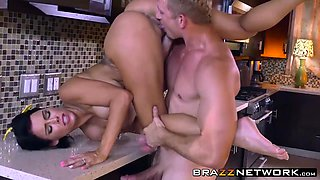Busty housewife Peta gets penetrated hard in a kitchen