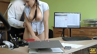 Busty secretary Alex just dreams of fucking right in the office