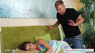 Stepsister with DD-cup boobs Alex Chance allows to penetrate mouth and pussy