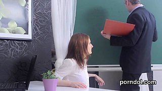 Natural bookworm gets seduced and nailed by older instructor