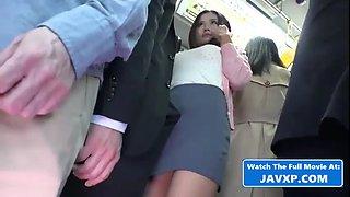 Asian babe fucks in a bus