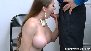 Sexy milf Bianca Burke goes down on her knees to suck the security officers man meat
