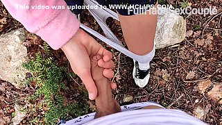 Spy Camera - Not Brother Films Not Sister In The Woods Cumshot On Ass