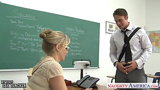 Young man cannot deny his gorgeous professor and that busty lady can fuck