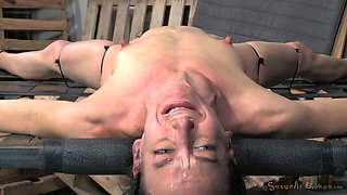 Black stud makes submissive tied up brunette suck his fat BBC