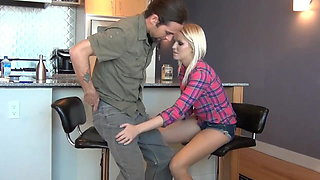Under the Table Pantyhose Footjob While Fiance is Unaware
